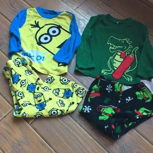 Minion and Dino Pajama Sets - Size 4